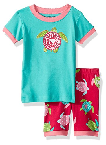 Little Blue House by Hatley Girls' Little Short Sleeve Appliqué Pajama Sets, sea Turtles, 2 Years ()