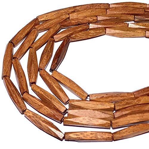[ABCgems] Bayong Hardwood (Beautiful Wood Grain) 4X21mm Diamond-Cut Rectangular Prism Organic Tropical Wood Beads