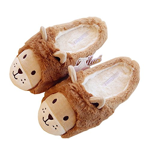 Womens Lion Faux-Fur Warm Plush Soft Sole Indoor Home Fuzzy Washable Slippers J2hFYk9GI