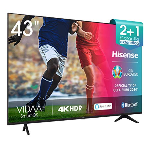 Hisense Televisie 43AE7000F (4K Ultra HD, HDR, Triple Tuner DVB-C/S/S2/T/T2, Smart TV, Frameless, Bluetooth, Alexa), 108…