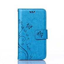 UNEXTATI Case for Galaxy S5, [Kickstand Feature] Flip Folio Leather Wallet Case with ID and Credit Card Pockets for Samsung Galaxy S5 (Blue)