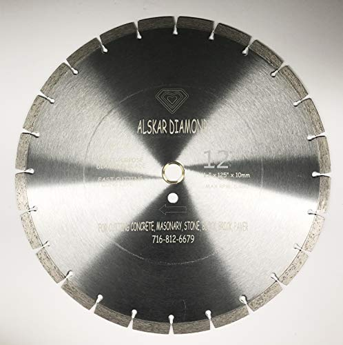 ALSKAR DIAMOND ADLSS 12 inch Dry or Wet Cutting General Purpose Power Saw Segmented Diamond Blades for Concrete Stone Brick Masonry (12