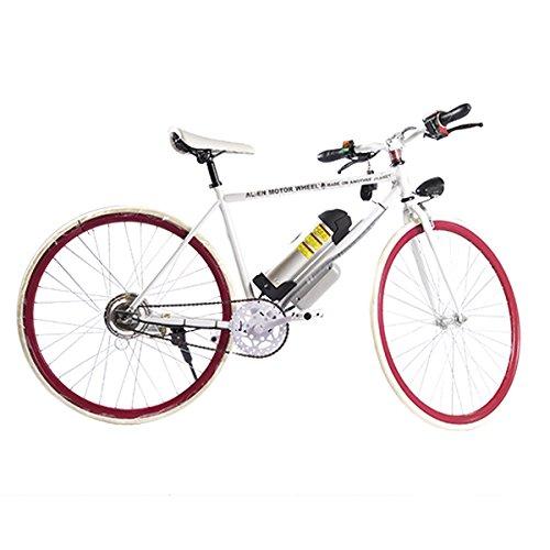 ELECTRIC Fixie Bike 350W 33MPH Alien Motor Wheels TM (WHITE/WHITE/CHERRY/SILVER)