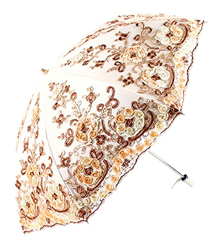 Apiidoo Twice Folding Gothic Umbrella 3D Flowers Embroidery Lace Sun UV Parasol Yellow