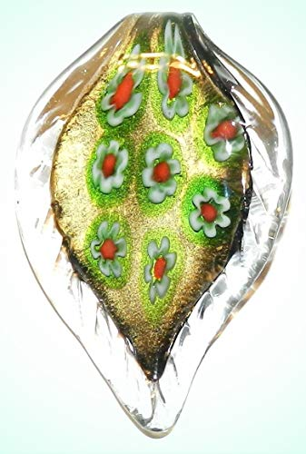 P1220 Green & Red Millefiori Gold Sparkle 62mm Lampwork Glass Leaf Drop Pendant