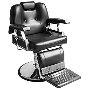 Real Relax All Purpose Classic Hydraulic Recline Barber Chair Salon Shampoo Beauty Spa Equipment (Black)