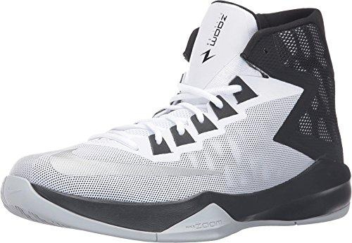 Nike Men's Zoom Devosion White/Metallic Silver-Black High-Top Basketball Shoe - 11M