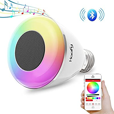 Bluetooth Speaker Light Bulb,Haofy 6W Smart LED Light Bulb with Wireless Stereo Audio RGB Color Changing LED Bulb Bluetooth Music Bulb for Mommy Baby Kids Bedroom Party (E26/E27,APP Controlled,1 Pack)