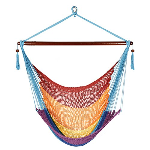 Best Sunshine Large Caribbean Hammock Hanging Chair with Footrest, Large Hammock Net Chair, Polyester (rainbow)