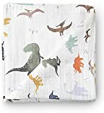 Aenne Baby Muslin Baby Swaddle Blanket Dinosaur Dino Print, Baby Shower Gifts, Luxurious, Soft and Silky, 70% Bamboo 30% Cotton 47x47inch (1pack), Baby boy Nursing Cover, wrap, Burp Cloth: more info
