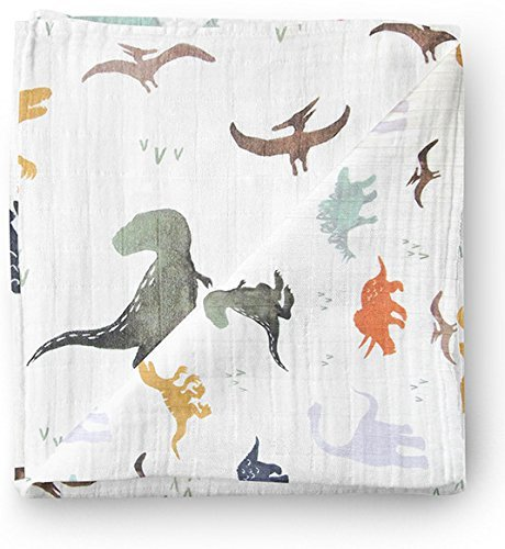 Aenne Baby Muslin Baby Swaddle Blanket Dinosaur Dino Print, Baby Shower Gifts, Luxurious, Soft and Silky, 70% Bamboo 30% Cotton 47x47inch (1pack), Baby boy Nursing Cover, wrap, Burp Cloth
