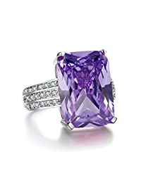 MDEAN Charm White Gold Color Big Purple Stone Rings For Women New Arrive Ring Size 5-10