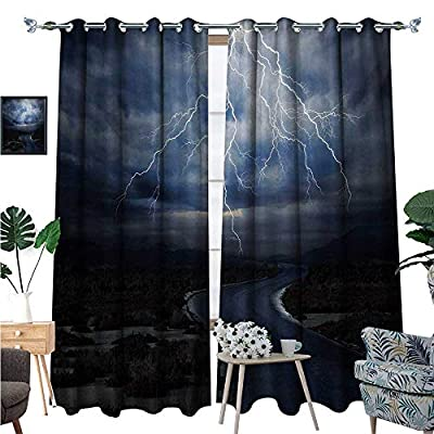 Nature Window Curtain Fabric Thunderstorm Over Road Vibrant Strong Beam Before The Sky Blows Weather Image Drapes for Living Room W72 x L96 Dark Blue Grey