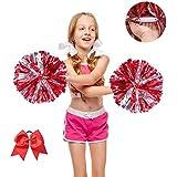 "12"" Metallic Foil Cheerleader Cheerleading Pom Poms with Baton Handheld for Kids Adults School Sports Games Team Spirit Cheer Dance Party(Pack of 2)"