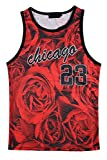 Agatha Garcia Men's Number 23 Red Rose Print Graphic Mesh Tank
