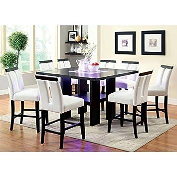 Furniture Of America Lumina 9 Piece Light Up Counter Height Dining Set