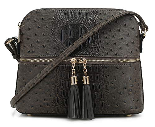 (SG SUGU Crocodile Pattern Lightweight Medium Dome Crossbody Bag with Tassel | Iron)
