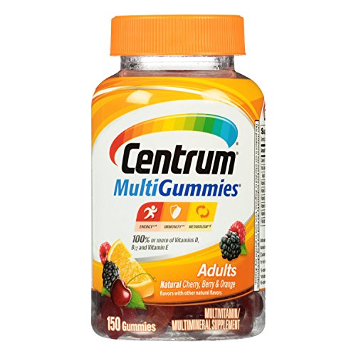 - Centrum MultiGummies Adults (150 Count, Natural Cherry, Berry, Orange Flavor) Multivitamin/Multimineral Supplement Gummies