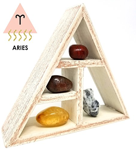 (ARIES Zodiac Crystal Healing Set / Tumbled Stones and Wooden Geometric triangle shelf in Gift Box / Astrology Sign Aries Birth Stones)