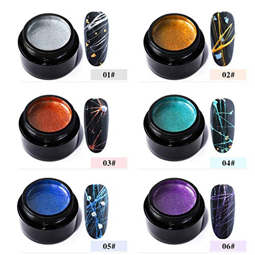 Libison Nail Spider Gel, Matrix Gel with Gel Paint Design Nail Art Wire Drawing Nail Gel for Line Nail Painting Drawing Design Spider Web Silk Line Pattern