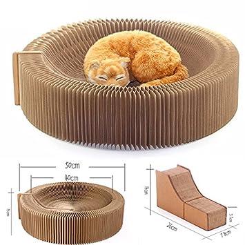 Yamadao Rascador para gatos, diseño de acordeón, cartón plegable, portátil, alta densidad, reciclado, corrugado: Amazon.es: Productos para mascotas