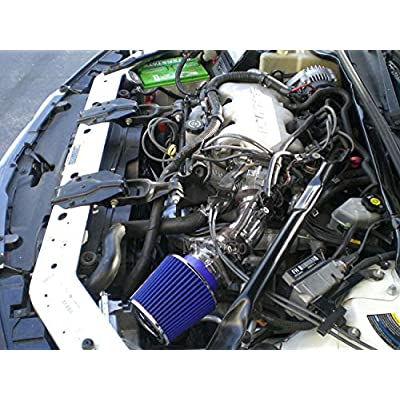 Air Intake Filter System works with 2000 2001 2002 2003 2004 2005 Chevy Impala & Monte Carlo with 3.4L V6 Engine (One Bend intake pipe) (Black Accessories with Blue Filter): Automotive