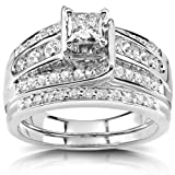 Princess Diamond Wedding Ring Set 1 Carat (ctw) in 14K White or Yellow Gold