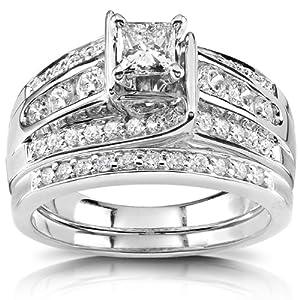 Princess Diamond Wedding Ring Set 1 Carat (ctw) in 14K White or Yellow Gold