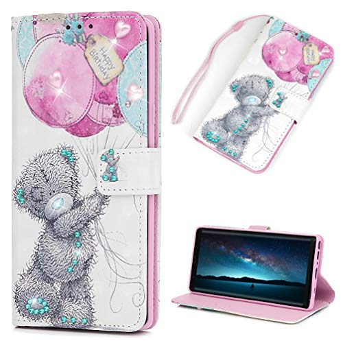 Price comparison product image Galaxy Note 9 Case, Note 9 Wallet Case PU Leather Cover Soft TPU Magnetic Closure & Kickstand Cash Credit Card Skin for Samsung Galaxy Note 9, Balloon Bear