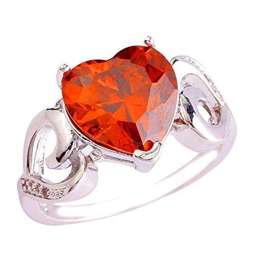 Empsoul 925 Sterling Silver Natural Chic Filled Garnet Topaz Wedding Engagement Ring Heart Shaped (Date Garnet Ring)