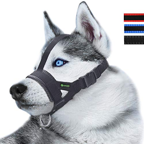 - Lepark Head Strap Dog Muzzle Prevent from Taking Off by Paws for Small,Medium and Large Dogs(XL/Black)