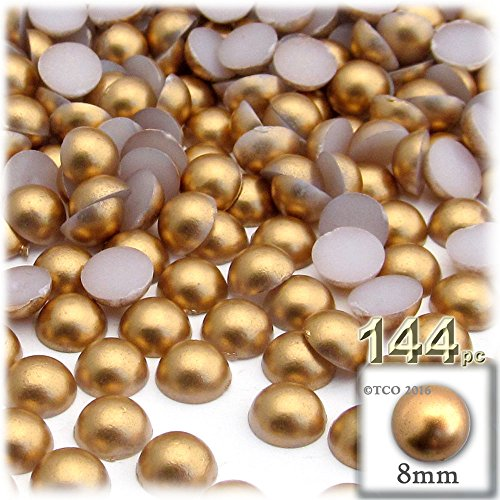 Beads Dome (144-pc Pearl Finish Half Dome Beads, Round, 8mm, Golden Caramel Brown)