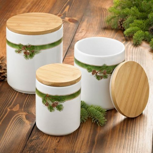 Pinecone Canisters Set of 3 by Persis Clayton Weirs by Wild (Pinecone Canister Set)