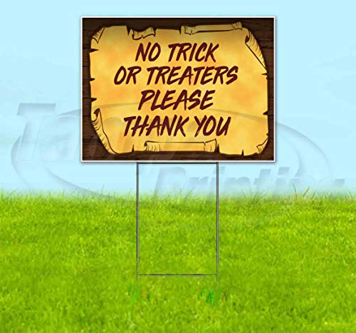 Halloween No Trick Or Treaters Sign (No Trick Or Treaters Please Thank You Scroll (18