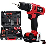 TEENO Cordless Drills & Screwdrivers Set with 2 Lithium-Ion Batteries 1500mAh Screwdriver Max Torque 40 N.m,10mm Chuck,Variable Speed, 18+1 Torque Setting with LED,41*Accessories