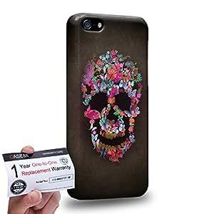 Case88 [Apple iPhone 5C] 3D impresa Carcasa/Funda dura para & Tarjeta de garantía - Art Blooming Skulls Red