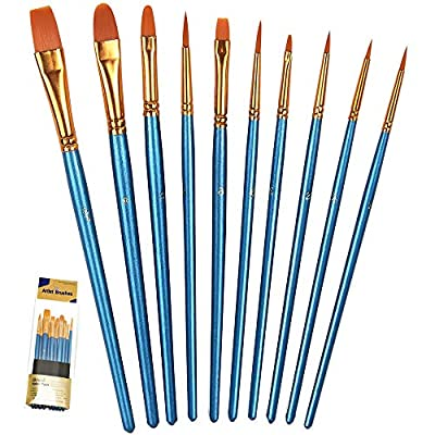 BOSOBO Paint Brushes Set, Round Pointed Tip Paintbrushes Nylon Hair Artist Acrylic Paint Brush for Acrylic Oil Watercolor, Face Nail Art, Models and Craft, Miniature Detailing & Rock Painting, Blue