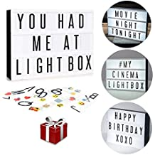 Light Box LED Sign Complete Message Board Set | 265 Tiles of Letters, Numbers & Emojis | Wall Mount | USB or Battery Powered | Giftable For All Ages | Gift Wrap Available