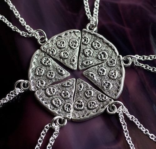 Set of 6 PIZZA Slice Silver Plated Pendants Best Friends Wholesale Lot Necklaces