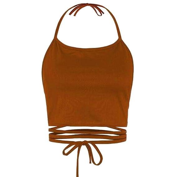 Gusspower Camisetas Cortas Vendaje Sin Respaldo para Mujer,Blusa Chaleco Sin Mangas Atractiva del Verano