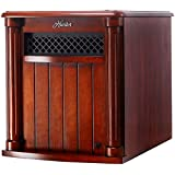 Eco-Friendly Infrared Wood Cabinet Heater with Remote Control, 1500 Watts, UL Listed, 6 Quartz, Thermal Protection, Cherry