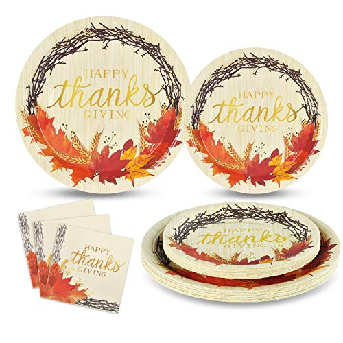 Happy Thanksgiving Paper Plates and Napkins Fall Leaves Disposable Dinnerware Set Serves 50 Includes 50 Paper Plates 50…