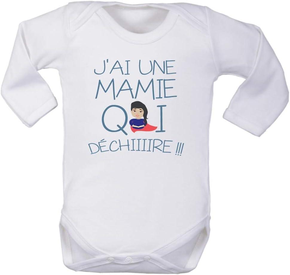 Texte Amusant Blanc v/êtement de Naissance Habit Fille et gar/çon 0//3 Mois Body Manches Longues Mamie Qui d/échire