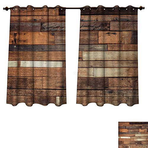 hermal Blackout Curtains Rustic Floor Planks Digital Printed Grungy Look Farm House Country Style Walnut Oak Grain Image Blackout Draperies For Bedroom Brown W63 x L72 inch ()