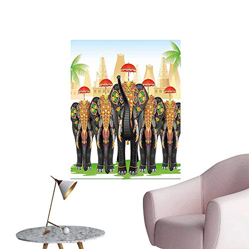 Wall Art Prints in Traditional Costumes with Umbrellas Ceremony Ritual Graphic for Living Room Ready to Stick on Wall,28