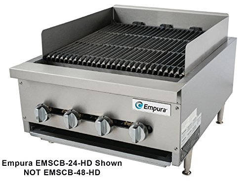 Empura EMSCB48-HD Heavy Duty Stainless Steel 48'' Countertop Charbroiler Gas with 6 Manual Controls Burners, 160,000 BTU by Empura
