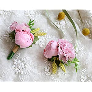MOJUN Tea-Rose Bud Carnation Silk Flower Boutonniere and Corsage Set Wedding Party Prom Homecoming Decoration, Pink 22