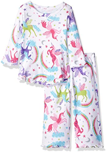 (Sara's Prints Baby Girls Cozy Ruffled Relaxed Fit Pajama Set, Flying Unicorns/Fun, 12M)