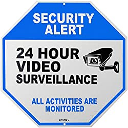 "Video Surveillance Sign - Home Security Sign - Security Camera Sign - All Activities are Monitored - Rust Free 12"" x 12"" Aluminum Sign, by Gentoly"