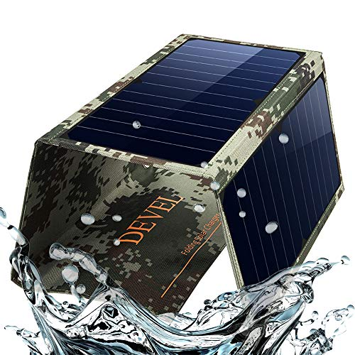 Foldable Solar Phone Charger Panel-Dual USB Solar Charger 22W Portable Waterproof Solar Power Charger for Camping & Outdoors Travel for iPhone X, 8 & 8 Plus, iPad Pro Air 2 mini, Galaxy(Camouflage) -